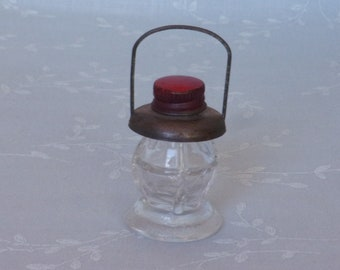 Vintage Figural Stough Glass Candy Container or Bottle. 1930s & 1940s Scarce Tiny J S Co Toy Lantern w Metal Top and Reflector. Ubia ea391