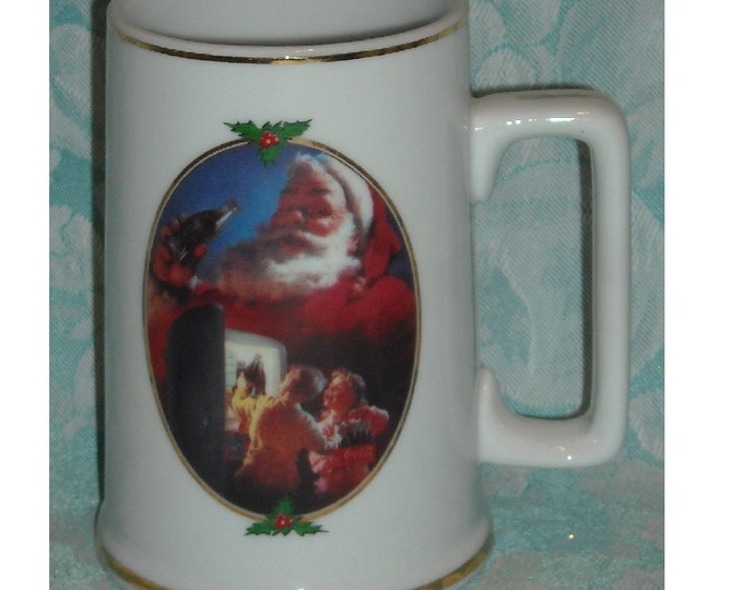 Featured listing image: Vintage Christmas Mug. Ultimate Source Coca Cola For Santa 1996 Collector Edition Stein w Haddon Sundblom Art of Santa Drinking Coke. Pd3a