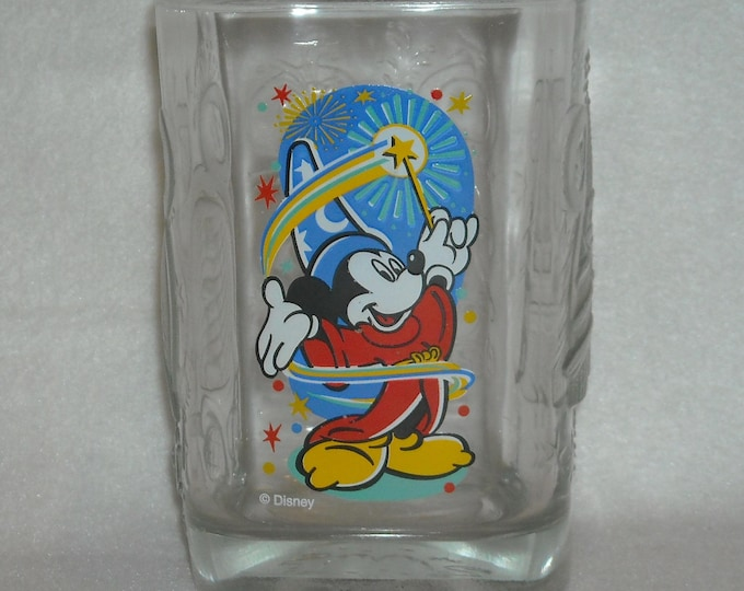 Featured listing image: Vintage Drinking Glass. Promo McDonalds & Walt Disney World Millenium Square Tumbler w Mickey Mouse, Magic Kingdom, and Epcot Center qggb
