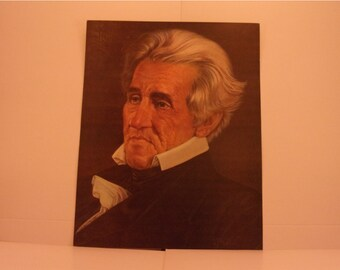 1970s Portraits of the Presidents. 7th President Andrew Jackson Vintage Color Poster & Educational Text by Illustrator Sam J Patrick. 7bse