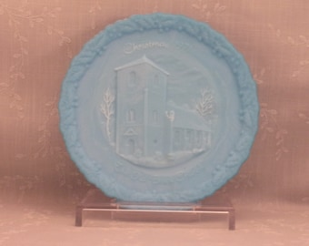 Blue Milk Glass Satin Vintage Fenton Plate w Fiery Edge. Christmas 1971 The Old Brick Church on Front & Christmas in America on Back. sjvao