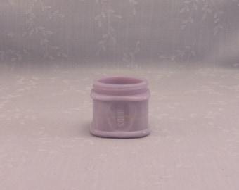 Rare Lavender Antique Milk Glass Small Jar. Light Purple Square Squat Bottle w Slight Marbling Slag. Embossed w Pond's on Sides. Sgjar21