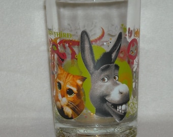 Collectible McDonalds Tumbler. 2007 Dreamworks, Shrek, The Third Cartoon, We Love You Daddy Drinking Glass Promo w Donkey & Cat. qgha