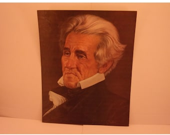 Vintage Portraits of the Presidents. 7th President Andrew Jackson 1970s Color Poster & Educational Text by Illustrator Sam J Patrick. 7ase