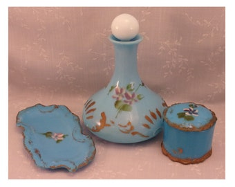 5 Pc Antique Turquoise Blue Milk Glass Dithridge Dresser Set. Decanter w Replaced Stopper, Covered Powder Puff Box, & Vanity Tray. Rjha
