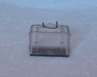 Antique Clear Glass Candy Container. Old Figural Toy Suitcase. Includes Original Wire Bail Handle & Original Tin Slide. UaLA EA707