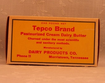 1 Pound Butter Box. Waxed Cardboard Advertising. Vintage Tepco Brand 1 Lb Never Used Food Dairy Container. Morristown, Tennessee TN. Sebx7