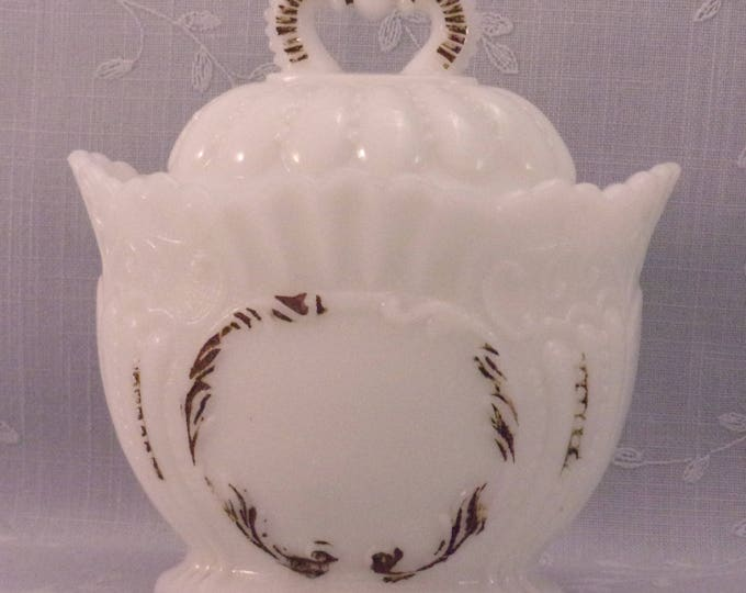 Featured listing image: Antique Westmoreland  Milk Glass Crown Covered Sugar w Scalloped Edges & Domed Lid. Victorian EAPG Opaline Glass. Bowl has Damage. Ra3a