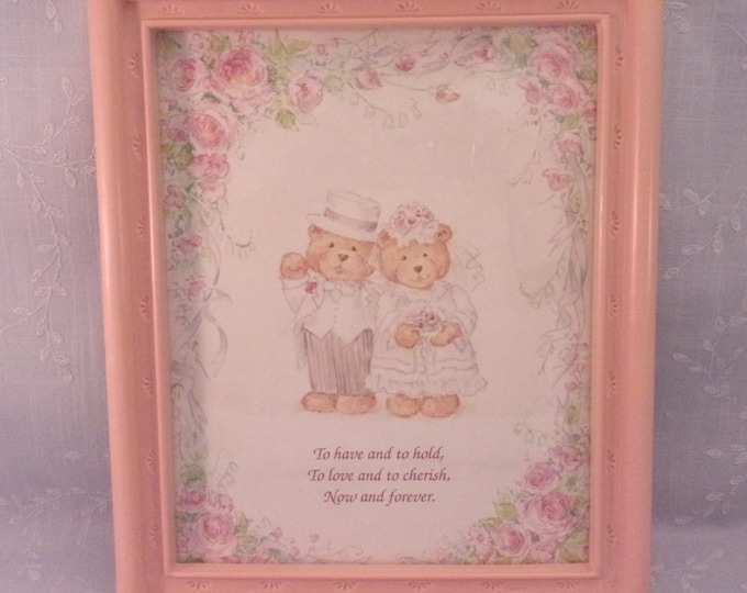 Featured listing image: Vintage Hanging Wall Décor Accent. Wedding Bears w Classic Wedding Vows in Faux Wood Mauve Pink Frame. Collectible Made in USA Picture. Reia