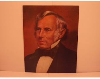 1970s Portraits of the Presidents. 12th President Zachary Taylor Vintage Color Poster & Educational Text by Illustrator Sam J Patrick. 12asd