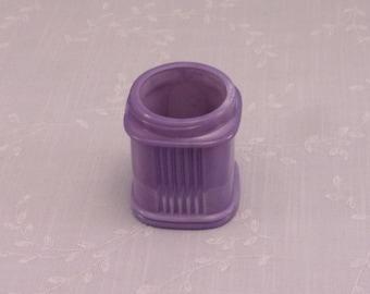 Rare Antique Purple Milk Glass Jar. Lavender Colored Old Victorian Square Apothecary or Cosmetic Bottle w Ridges & Marbling Slag. Sgjar6