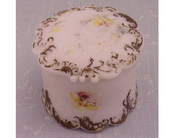 Gillinder Milk Glass Antique Dresser Puff Box w Lid. Covered Victorian Satin Frosted Decorated Opal Vanity Jar for Powder or Trinkets. Rgra
