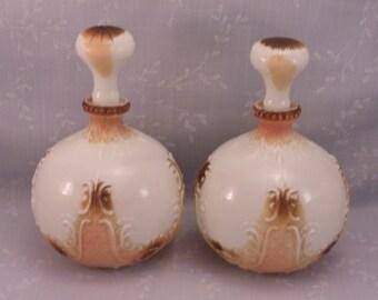 Victorian Gillinder Milk Glass Decanters w Original Stoppers. 2 Old Antique EAPG Opaline Dresser, Perfume, Barber, or Vanity Bottles. Ri3c