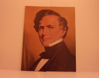 Vintage Portraits of the Presidents. 14th President Franklin Pierce 1970s Color Poster & Educational Text by Illustrator Sam Patrick. 14asd