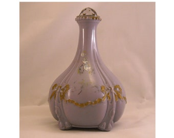 Lavender Antique Milk Glass Bow and Drape Dresser Decanter with Replaced Amethyst Stopper. Rare Opaque Purple Cologne or Scent Bottle. pega