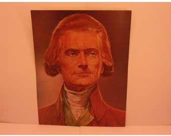Vintage Portraits of the Presidents. 3rd USA President Thomas Jefferson 1970s Color Poster & Factual Text by Illustrator Sam J Patrick. 3ase