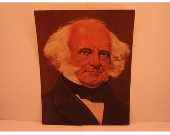 1970s Portraits of the Presidents. 8th President Martin Van Buren Vintage Color Poster & Educational Text by Illustrator Sam J Patrick. 8bse