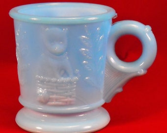 Blue Milk Glass Antique Cup w Puppy, Kitten, & Slag. Victorian EAPG Dog and Cat Novelty Child's Early Toy Cup w Flower Mark on Base. qasa