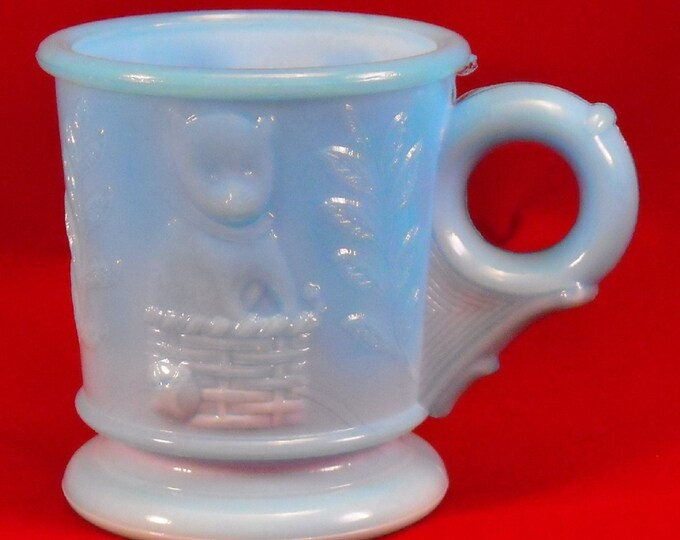 Featured listing image: Blue Milk Glass Antique Cup w Puppy, Kitten, & Slag. Victorian EAPG Dog and Cat Novelty Child's Early Toy Cup w Flower Mark on Base. qasa