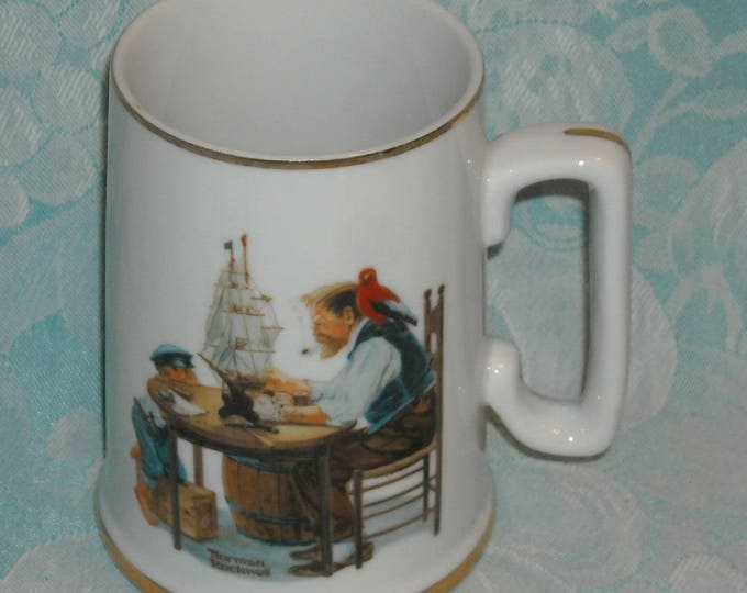 Featured listing image: Vintage Norman Rockwell Museum Stein. 1985 Seafarer's Collection Tall Coffee Mug. For a Good Boy w Grandpa. Porcelain w 24K Gold Trim. Pj9a