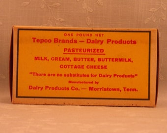 1 Pound Vintage Butter Box. Waxed Cardboard Advertising. Tepco Brand 1 Lb Never Used Food Dairy Container. Morristown, Tennessee TN. Sfbx4