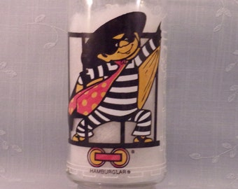 Vintage McDonalds Tumbler. Hamburglar Drinking Promo Glass. 1977 McDonaldland Action Series. Hamburglar is Prison Garb on a Train. rcwb