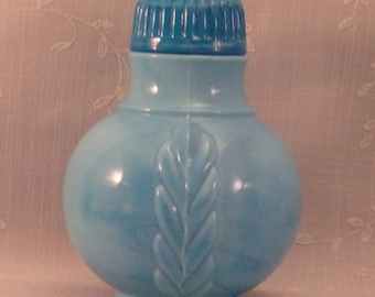 Rare Turquoise Blue Milk Glass Jar w Lid. Antique 1888 Atterbury Woven Panel Mustard Bottle w Vertical Scrolls, Date Mark, & Slag. Rbza