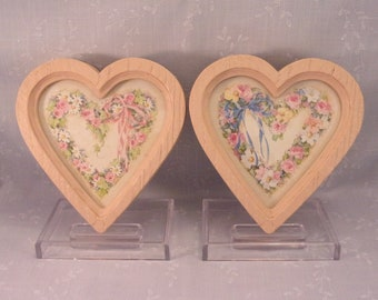 2 Vintage 1987 Homco Hanging Wall Décor Floral Accent, 9837. Pair of Heart Shaped Pictures w Pink & Blue Ribbons and Faux Wood Frames. Reca