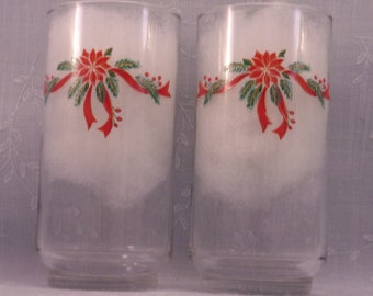 2 Vintage Libbey Christmas Tumblers. Clear Holiday Beverage Glasses w Poinsettias, Ribbon, Pine Branches, & Berries. 16 Oz. 5+ Inches.  riJb