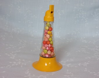 Vintage Figural Horn Glass Candy Container. 1940s Working Musical Millstein 1948 Toy w Original Treats & Original Sticker. Uata ea311