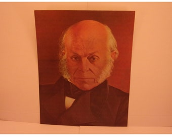 1970s Portraits of the Presidents. 6th President John Quincy Adams Vintage Color Poster & Educational Text by Illustrator Sam J Patrick. 6se