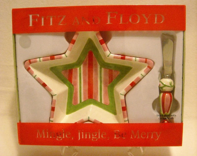 Featured listing image: 2006 Fitz and Floyd Snack Bowl w Canape Knife Spreader. Marked w Mingle, Jingle, and Be Merry. Red, Pink, & Green Candy Stripes. qgjb