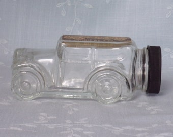 1970s Figural Clear Vintage Glass Candy Container or Bottle. 1929 Ford Model Automobile w Black Plastic Cap & Faded Black Sticker. uctc ea65