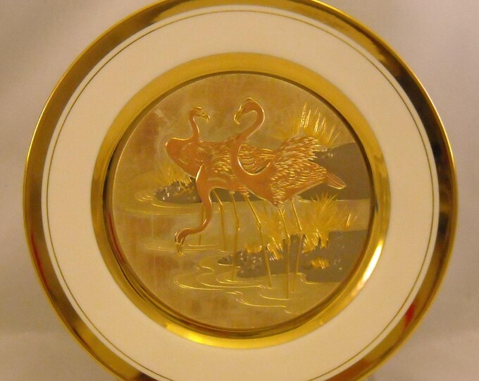 Featured listing image: The Art of Chokin Vintage Plate. 9+ Inch Japanese Metallic Art Dish w Stork Bird Trio in Pond, 24 KT Gold Gilt, & Fine China Porcelain. qdqa