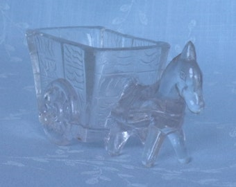 1930s Figural Clear Glass Toothpick Holder or Small Trinket Dish. Vintage Kemple Horse, Pony, Donkey, or Mule Pulling Two Wheeled Cart. Udcb