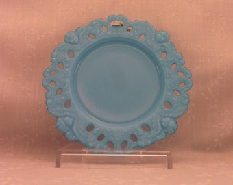 Dithridge Milk Glass Antique Plate. Blue Turquoise Opaline Dish w Angel, Cherub, or Putti Lace Rim. Old EAPG Victorian Wall Art. Sjnbo