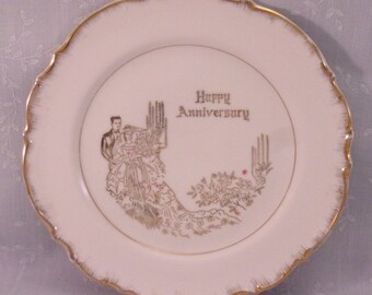 50th Anniversary Plate. Vintage Artmark 50th Wedding Anniversary Decorative Collector Plate w Gold Trim & Pink Floral Details . rfJb