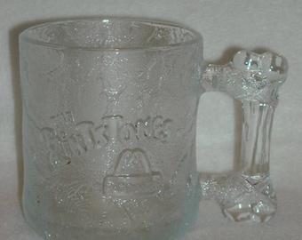 Pre Dawn Mug. Vintage 1994 McDonalds Promo RoCDonald, not Rock Donald, Textured Glass Flintstones Hanna Barbera HB Cup w Bone Handle. nLfb