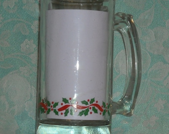 1 Libbey Christmas Stein. Very Vintage Holly and Berry Clear 5 1/2 Inch Tall Mug with Green Holly Leaves, and Red Ribbon & Berries Band. rs
