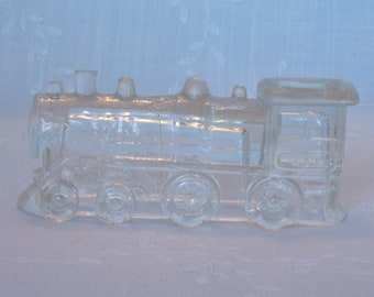 1940s Figural Clear Pressed Glass Candy Container. Vintage Toy Victory Locomotive Train Engine Double Window 888 w Small Roof. Ubza ea482