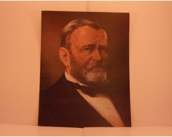 Vintage Portraits of the Presidents. 18th President Ulysses S Grant 1970s Color Poster & Educational Text by Illustrator Sam Patrick. 18asd