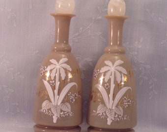 Antique Milk Glass Dresser Decanters w Replaced Stoppers. 2 Bohemian, Commonly Referred to as Bristol Bottles in Chocolate Color. rcga
