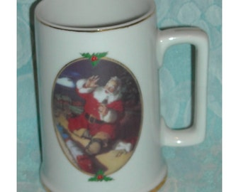 Vintage Christmas Mug. Ultimate Source Coca Cola Season's Greetings 1996 Collector Edition Stein w Haddon Sundblom Art of Santa Claus. Pd3c
