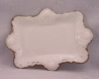 Milk Glass Antique Vanity Tray. Victorian Opaline Rectangular Clover Dresser Plate w Embossed Flower, Leafy Scroll, & Slight Slag. Rgta