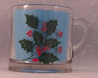Vintage Indiana Glass Holiday Small Cup w Green Holly & Red Berries. Discontinued Clear Glass Christmas Pattern w Paint Imperfections. qJJc