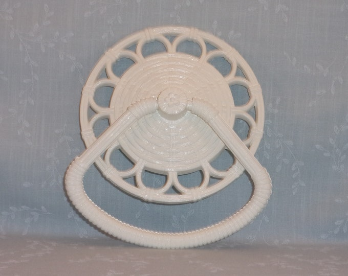 Featured listing image: 1978 Homco 3314 D White Faux Wicker Rattan Towel Rack Holder Ring. Vintage Molded Resin Washable Restroom Round Towel Bar. Made in USA. Rkua