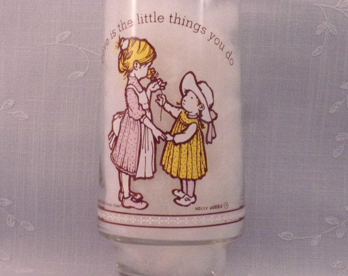 Featured listing image: Vintage Drink Glass. Holly Hobbie Happy Talk Limited Edition Tumbler for Coke & American Greetings w Love is the Little Things You Do. rcwa