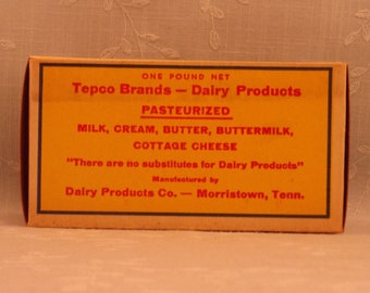 1 Pound Vintage Butter Box. Waxed Cardboard Advertising. Tepco Brand 1 Lb Never Used Food Dairy Container. Morristown, Tennessee TN. Sfbx3