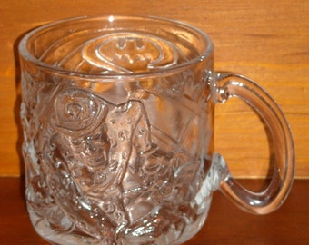 1995 McDonalds Mug. Batman Forever DC Comics Vintage Coffee Cup. The Riddler. Deeply Sculptured Molded Pressed Clear Glass Promo. qiga