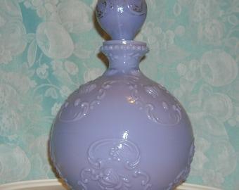 Lavender Antique Milk Glass Decanter with Original Stopper. Rare Victorian Gillinder Purple Colored Vanity, Dresser, or Barber Bottle. pefa